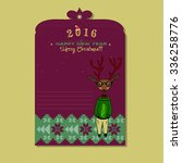 christmas card with deer  | Shutterstock .eps vector #336258776