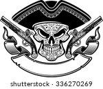 pirate skull with hat  banner... | Shutterstock .eps vector #336270269