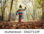 Boy Walking With A Hiking Pole...