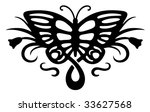 abstract tattoo with butterfly | Shutterstock .eps vector #33627568