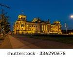 illuminated reichstag building...