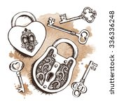 Keys And Locks Over Watercolor...