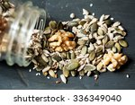 Various seeds , nuts seeds , pumpkin seeds and varies in glass jar