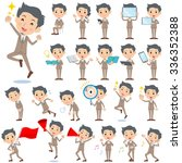 set of various poses of beige... | Shutterstock .eps vector #336352388