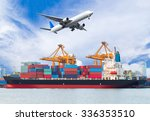 cargo plane flying above ship... | Shutterstock . vector #336353510