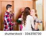 couple welcomes joyful friends...   Shutterstock . vector #336358730