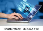 close up of man typing on... | Shutterstock . vector #336365540