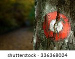 Red Trail Marker On The Tree.