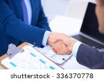 business people shaking hands ... | Shutterstock . vector #336370778