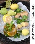 lemon   mint and ginger tea | Shutterstock . vector #336372833