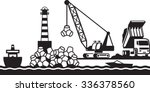 construction of breakwater of... | Shutterstock .eps vector #336378560