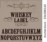 whiskey label font and sample... | Shutterstock .eps vector #336388160