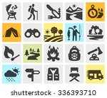 Hiking Black Icons Set. Trip ...