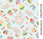 seamless pattern with teapots ... | Shutterstock .eps vector #336395120