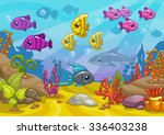 underwater world  cartoon... | Shutterstock . vector #336403238