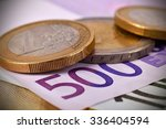 Coins And 500 Euro Banknotes ...