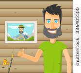 a fisherman at home. vector... | Shutterstock .eps vector #336405500
