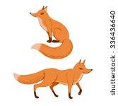 set of fox. vector illustration.... | Shutterstock .eps vector #336436640