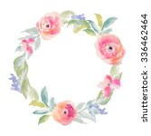 watercolor flower frame.... | Shutterstock . vector #336462464