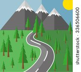 road to the mountains through... | Shutterstock .eps vector #336506600