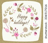 winter floral card with cute... | Shutterstock .eps vector #336517016