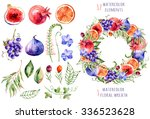 colorful floral and fruits... | Shutterstock . vector #336523628
