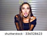 young woman having fun  showing ... | Shutterstock . vector #336528623