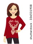 woman in red knitted sweater | Shutterstock .eps vector #336531908