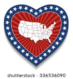 usa map    patriotic heart... | Shutterstock .eps vector #336536090