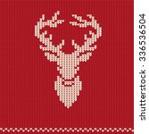 knitted pattern with deer | Shutterstock .eps vector #336536504