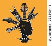 punk head. silhouette a man... | Shutterstock .eps vector #336540446
