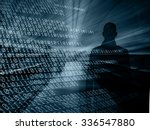 silhouette of a hacker with...   Shutterstock . vector #336547880