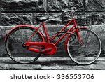 Retro Vintage Red Bike On Blac...