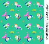 pixel cute babies. seamless... | Shutterstock .eps vector #336558860