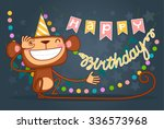 cute happy birthday card with... | Shutterstock .eps vector #336573968