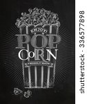 poster popcorn  full bucket of... | Shutterstock .eps vector #336577898