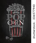 poster popcorn  full bucket of... | Shutterstock .eps vector #336577940