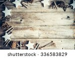christmas decoration on rustic... | Shutterstock . vector #336583829