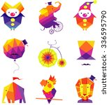 vector colorful circus icons... | Shutterstock .eps vector #336595790