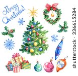 watercolor retro christmas set  ... | Shutterstock . vector #336615284
