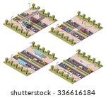 Set Of The Isometric Crosswalk...