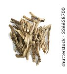 Small photo of Calamus root or Sweet Flag. Flagroot (Acorus calamus). Ayurveda and Alternative Medicine - Mytle Grass. Medical Dry Herbs and Roots