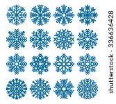 set of vector fluffy snowflakes ...   Shutterstock .eps vector #336636428