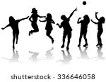 happy children silhouettes... | Shutterstock . vector #336646058