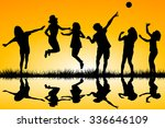 silhouettes of children playing ... | Shutterstock . vector #336646109