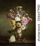 Still Life With Dahlias In A...
