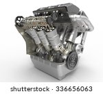 v8 turbo car engine on white ... | Shutterstock . vector #336656063