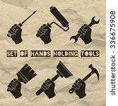 set of hands holding tools....