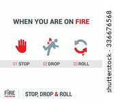 when you are on fire 1. stop 2. ... | Shutterstock .eps vector #336676568