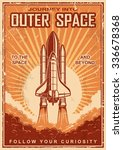 vintage poster with shuttle... | Shutterstock . vector #336678368